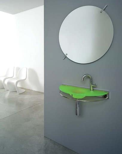 waschbecken aus satiniertem glas mit stahlstruktur. Black Bedroom Furniture Sets. Home Design Ideas
