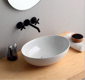 Mini Shell, Ovales Waschbecken aus Keramik