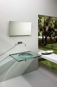Nost, Wand Waschbecken, aus transparentem Glas
