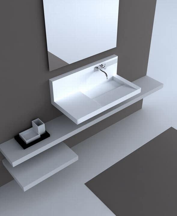 sp ltisch wand in corian mit mischer idfdesign. Black Bedroom Furniture Sets. Home Design Ideas