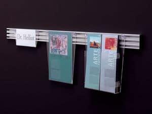 Desk up Meldung, Aussteller in transparentem Acryl auf Aluminiumschienen