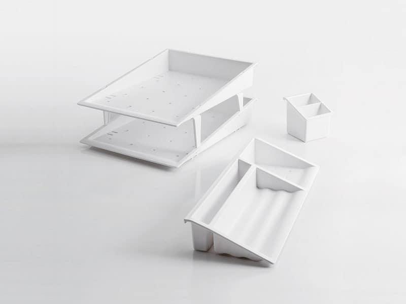 Desk up white, Schreibtisch-Accessoires im Polymer