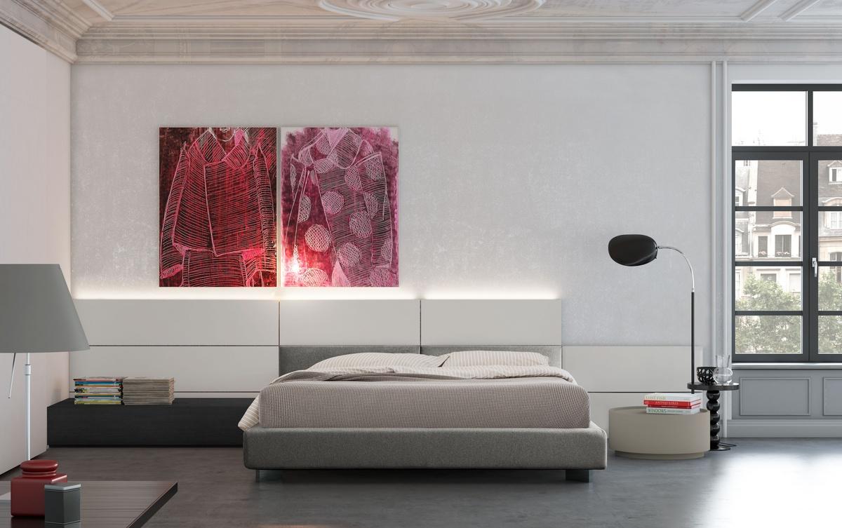 Design-Bett, Holzbettrahmen, verstellbare gepolsterte Kopfteil ...