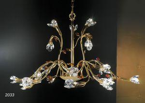 Art. 2033 Matisse, Kronleuchter in 24kt goldenem Messing und Kristall