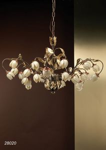 Art. 28020 Fior di Loto, Eleganter Kronleuchter mit mundgeblasenen Glasblumen