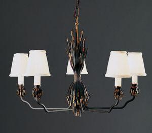 FETTUCCE HL1032CH-5, Eisenkronleuchter mit Lampenschirmen aus Stoff