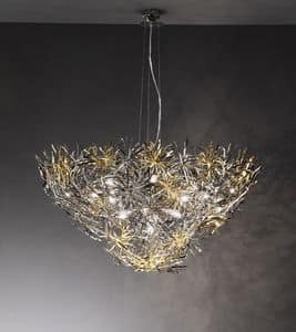 Ispirazione ceiling lamp, Lampe in der modernen Art, Finishing in Nickel, Chrom und Gold