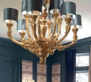 Luigi XVI Art. LAM03/12L, Eleganter Kronleuchter in Goldoptik