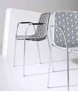 Alhambra TB, Stuhl mit Armlehnen, verchromtem Metall, Polymerhülle