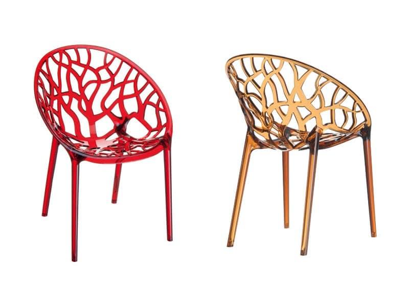 Crystal, Kunststoff stapelbare Sessel, für den Außeneinsatz