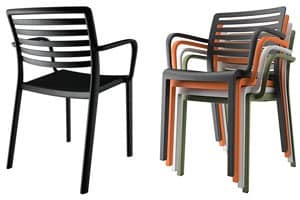 Lama - P, Kunststoff-Stuhl mit horizontaler Lattenrückenlehne