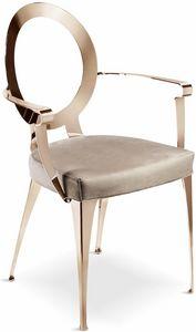 Miss Stuhl mit Armlehnen und offener Rückenlehne, Stuhl mit Armlehnen und perforierter Rückenlehne