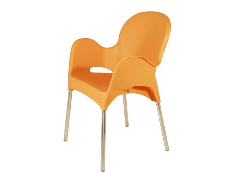 PL 029, Sessel aus Aluminium und Polypropylen, für Eisdiele