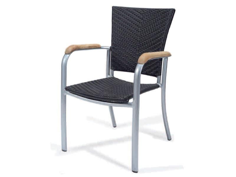 PL 400, Gewebte Stuhl mit Armlehnen, aus Aluminium, Holzverkleidung