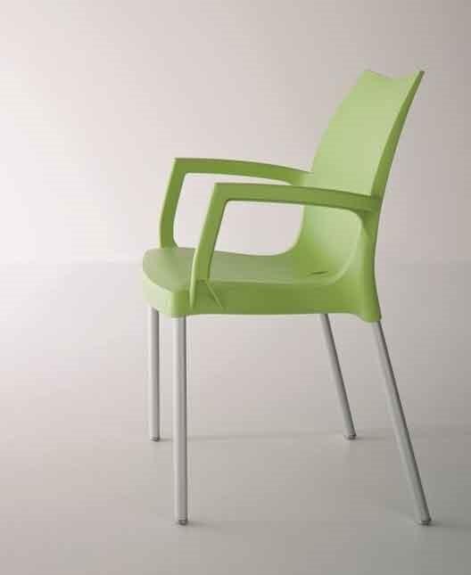 Tulip B, Sessel aus Aluminium und Polymer, für den Außeneinsatz