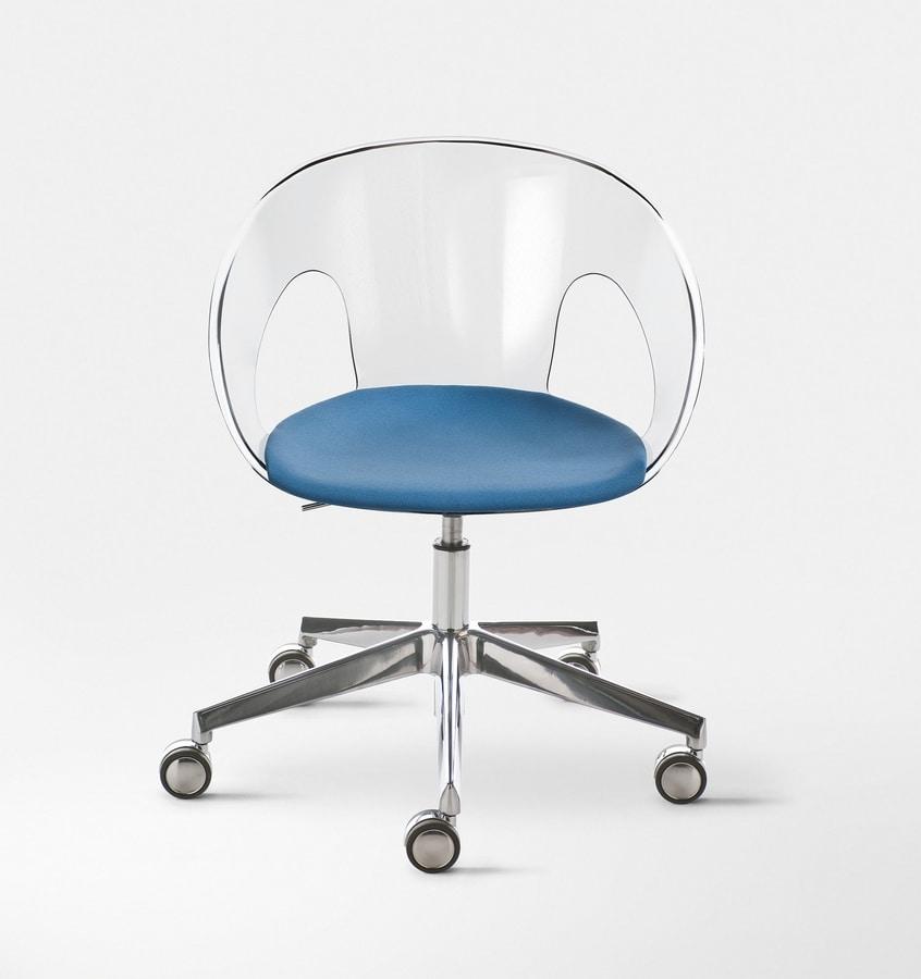 Krizia, Polycarbonat Stuhl auf Metallchromrahmen
