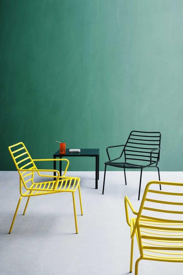 Link B, Beständige Sessel aus lackiertem Metall, für den Außenbereich