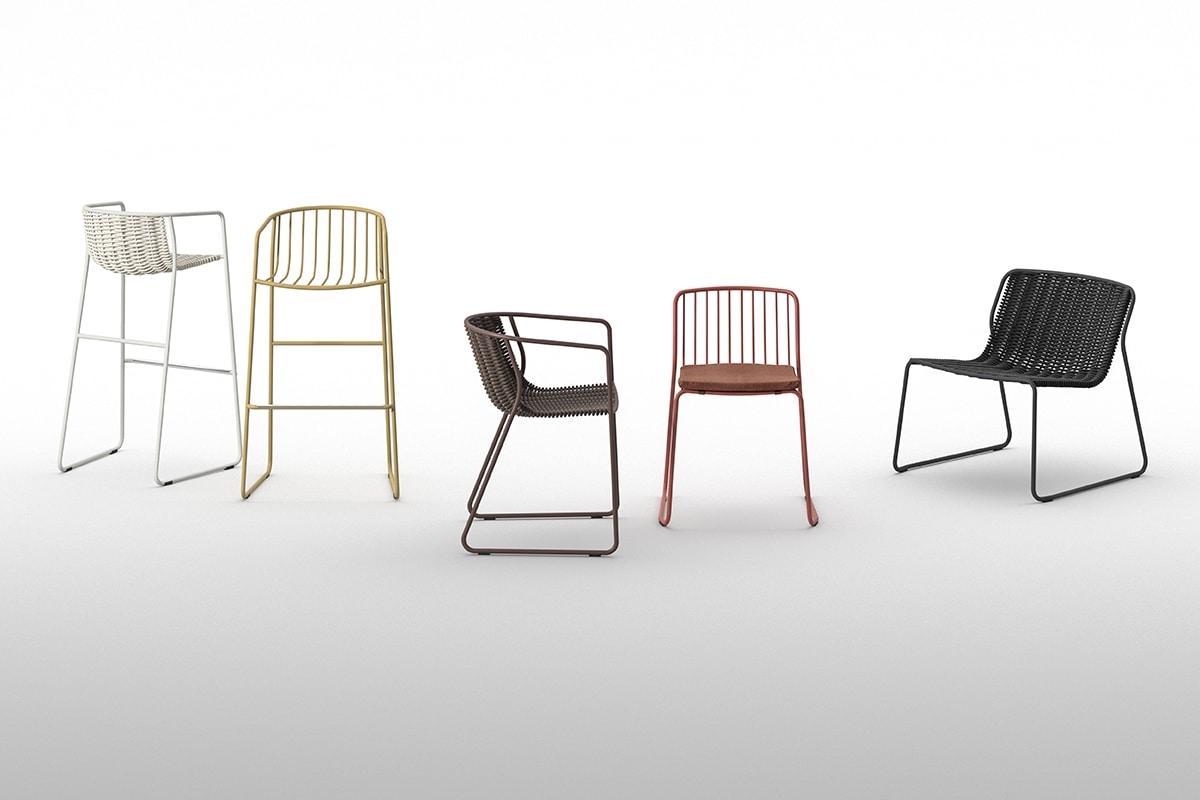 Randa AR, Sessel mit Kufen, gewebt Schale, für den Garten