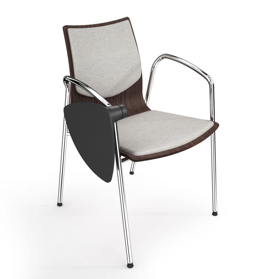 WOODY ELITE, Stapelstuhl, die mit Schreibplatte ausgestattet werden kann, raffiniertes italienisches Design, für Konferenzräume und Büro