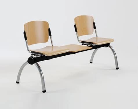 Cortina movable bench with table, Metallbank mit Sperrholz Sitze für Wartezimmer