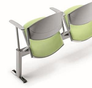 DELFI A086, Stuhl auf dem Balken, gepolsterter Sitz, für Warteräume