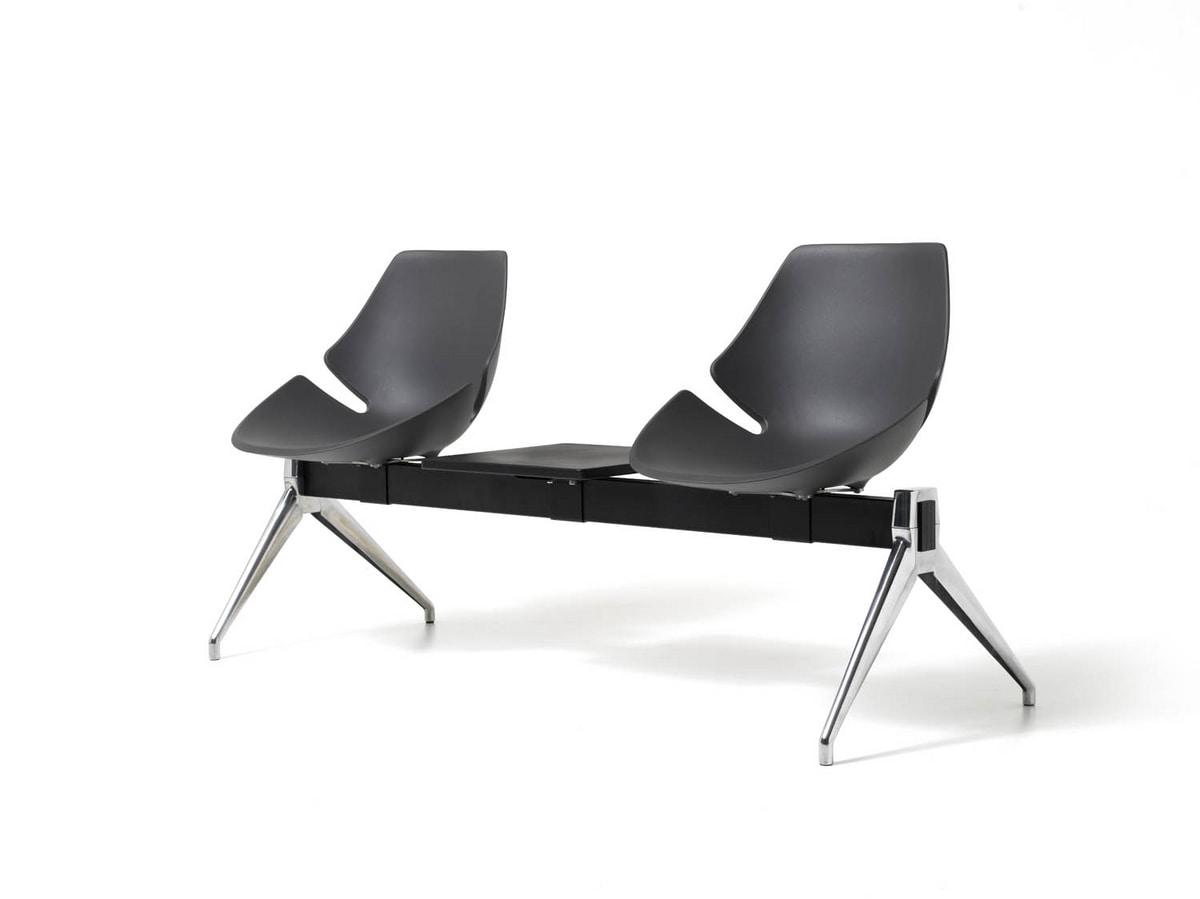 Eon bench, Sitz auf dem Balken, aus Aluminium und Kunststoff, für Wartezimmer