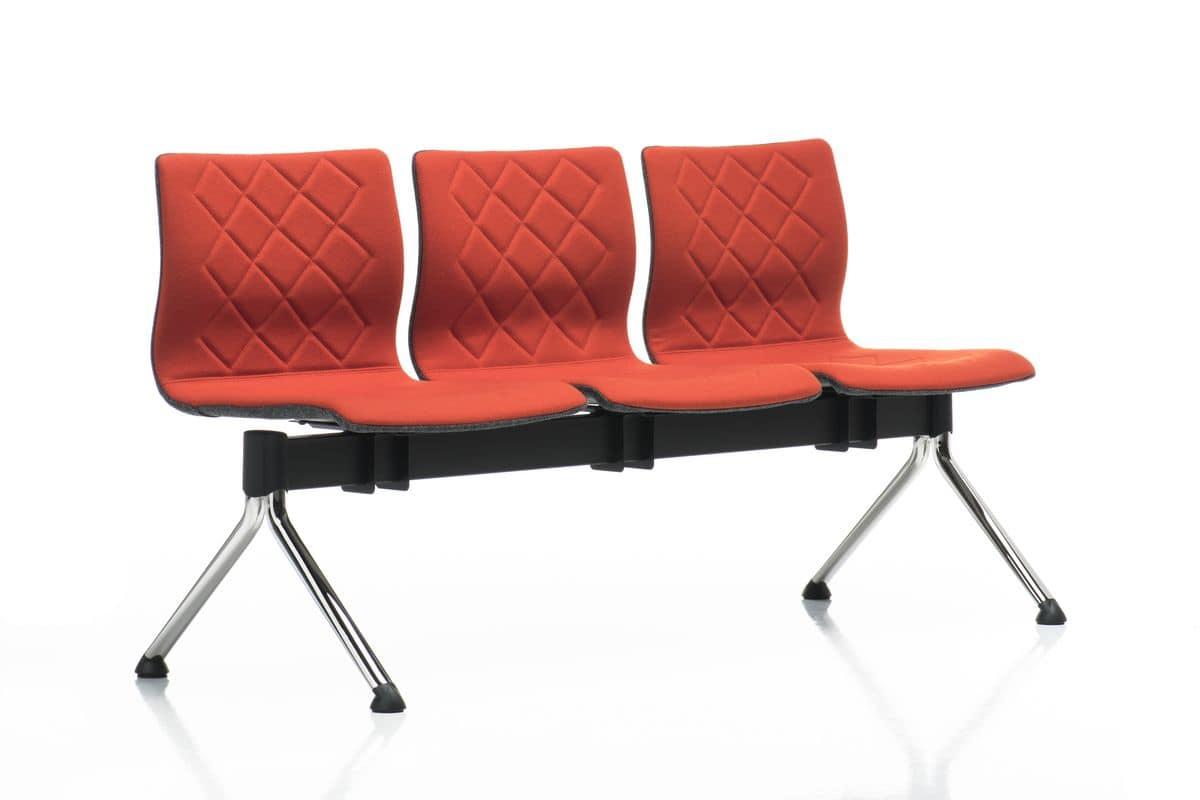Miss bench, Modulare Sitzbank, Beine aus verchromtem Stahl, für Warteräume