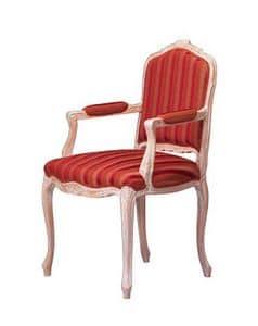 1003, Klassischer Stuhl, überdachte Armlehnen, für Esszimmer