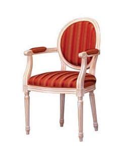 1053, Klassischer Stuhl mit Armlehnen, gepolstert, für Wohnzimmer