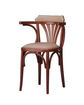 B04, Sessel aus gebogenem Holz mit gepolstertem Sitz