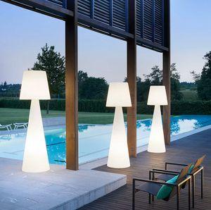 Stehlampe Säulenstiel helles modernes Design Slide Pivot LA PVT, Polyethylenlampe auch für den Außenbereich