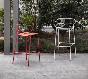 ART. 0049-MET-PU-STOOL GENOA, Metallhocker, auch für den Außenbereich