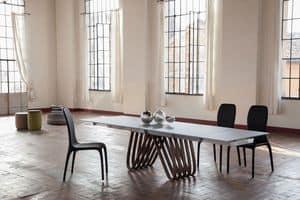 ARPA, Ausziehbarer oder fester Tisch mit Glas-, Holz-, Marmor- oder Keramikplatte