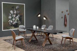 STILL, Feststehender oder ausziehbarer Tisch mit gebogenem Holzgestell und Keramikplatte