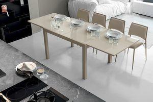 VEGA 120 TA101, Ausziehbarer Tisch mit Glasplatte