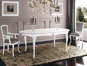 Art. 3188, Weiß lackierter ovaler Tisch