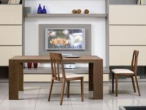 Ergänzungen Tische und Konsolen 03, Ausziehbarer rechteckiger Tisch für Esszimmer