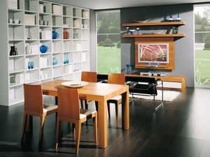 Ergänzungen Tisch 08, Ausziehbarer Holztisch, für Ess- und Wohnzimmer