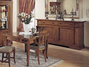 Giotto Tisch, Ausziehbarer Tisch aus Holz, mit Schublade