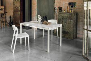 PERIGEO 85 TA159, Ausziehbarer Tisch aus Metall, Laminat, modern