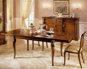 REGINA NOCE / Rechteckiger Tisch, Erweiterbar Holztisch, für traditionelle Speiseräume