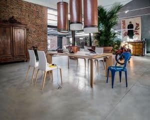 ROMA, Fester Tisch aus Holz oder Marmor mit Holzplatte