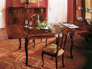 ROYAL NOCE / Extensible Tisch, Quadratischer klassischer Tisch mit Erweiterung für Esszimmer