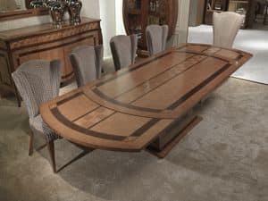 TA62k Charme Tisch, Ausziehbar Intarsien Holztisch, für Restaurants