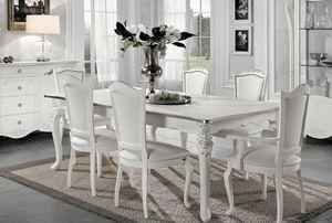 Viola rechteckiger Tisch, Ausziehbarer Tisch im neoklassizistischen Stil