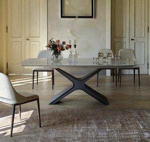 CALLIOPE, Ausziehbarer oder fester Tisch mit Glas- oder Keramikplatte