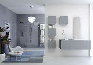 Plane 2D 02, Zusammensetzung für Badezimmer, mit Wandeinheiten