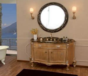 Art. 2700 Donatella, Badezimmer-Eitelkeit mit Marmorplatte, Blattgold Oberflächen