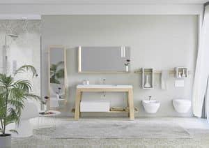 Bath Table 01, Schrank in Asche für Badezimmer, mit Spiegel für Bademäntel