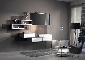 Domino 01, Zusammensetzung für Badezimmer, mit lackiertem Holzverkleidung